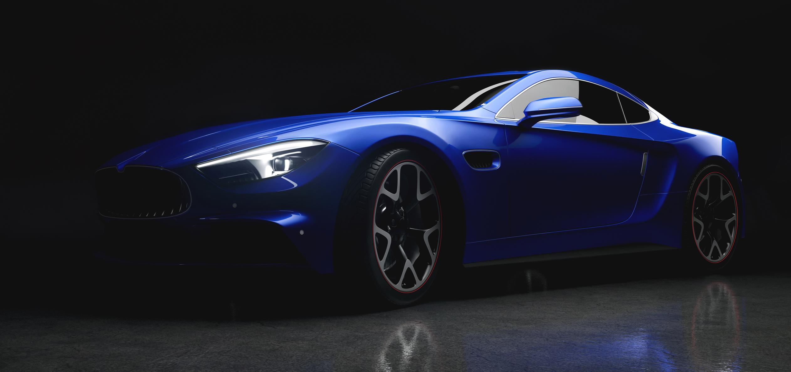 Une supercar bleue